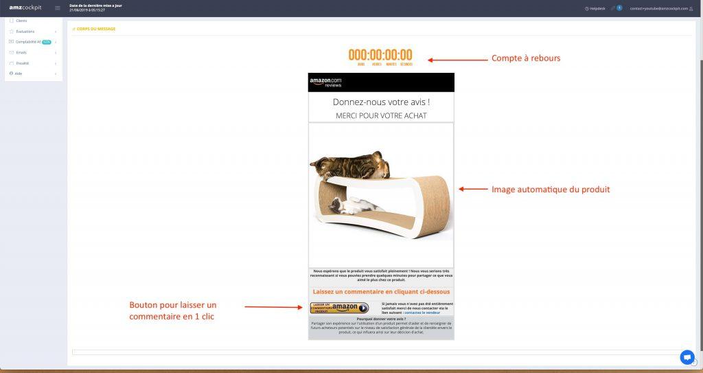 template d'email avec explications pour email envoyée automatiquement aux clients amazon