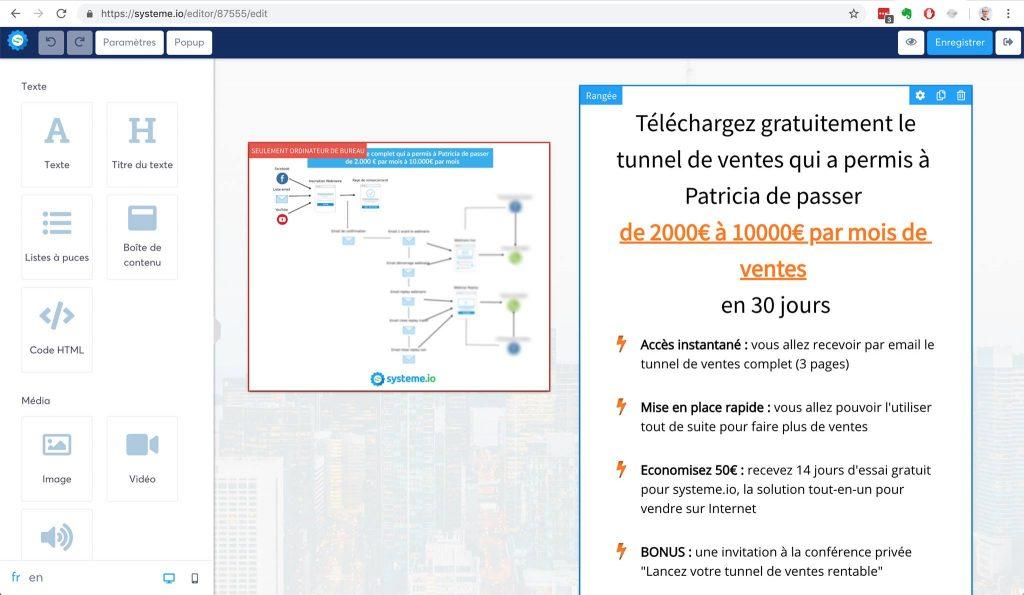 Builder (ou constructeur en français) de pages sur systeme.io
