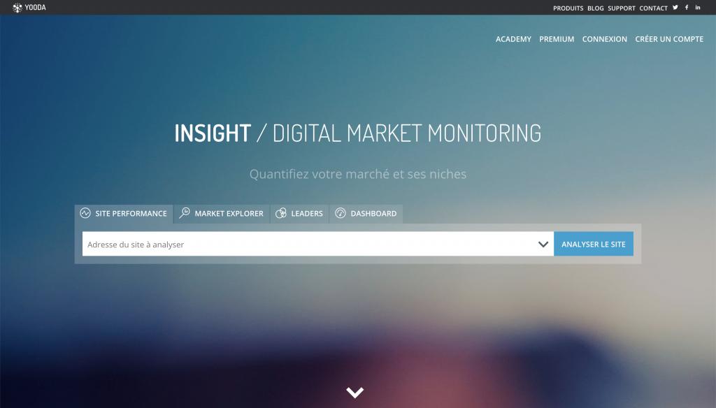 Page d'accueil de Yooda Insight